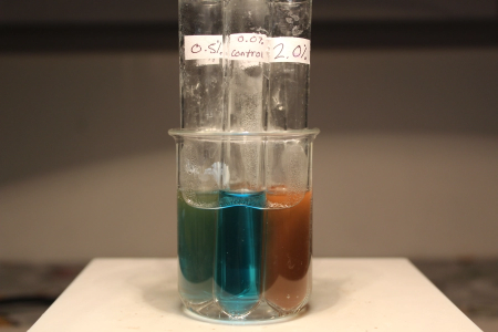 colorful blue green orange solution in test tube