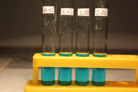 test tube benedicts reagent blue solution